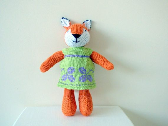 Knitted Fox Hand Knit Fox Handmade Fox by TabbyCatCraftsShop