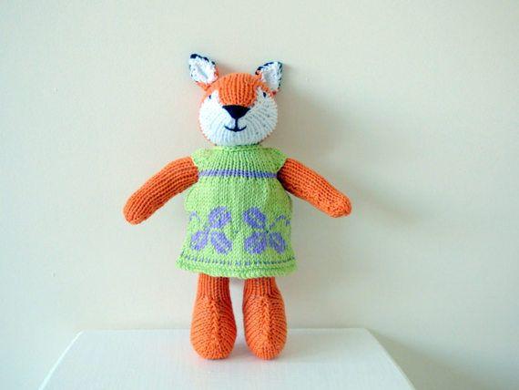 Knitted Fox Hand Knit Fox Handmade Fox by TabbyCatCraftsShop