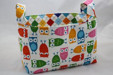 Reversible Multi Colored Owl Fabric Organizer by Diva's Intuition - modern - toy storage - Etsy