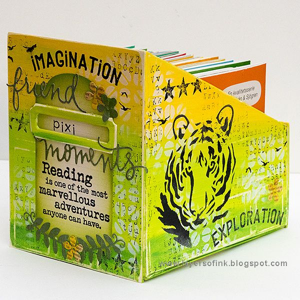 Layers of ink - Mini Book Storage Container Tutorial by Anna-Karin Evaldsson. The holder has four compartments and is made using Book Club dies by Eileen Hull / Sizzix, stamps by Darkroom Door and Tim Holtz and stencils by StencilGirl.