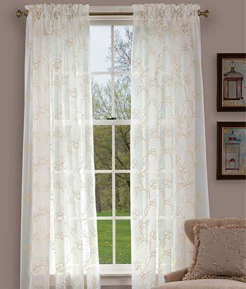 Vine Sheer Rod Pocket Curtains