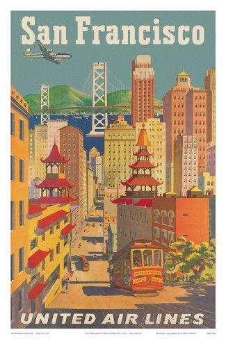 United Airlines San Francisco c.1950 Art par Joseph Feher sur AllPosters.fr
