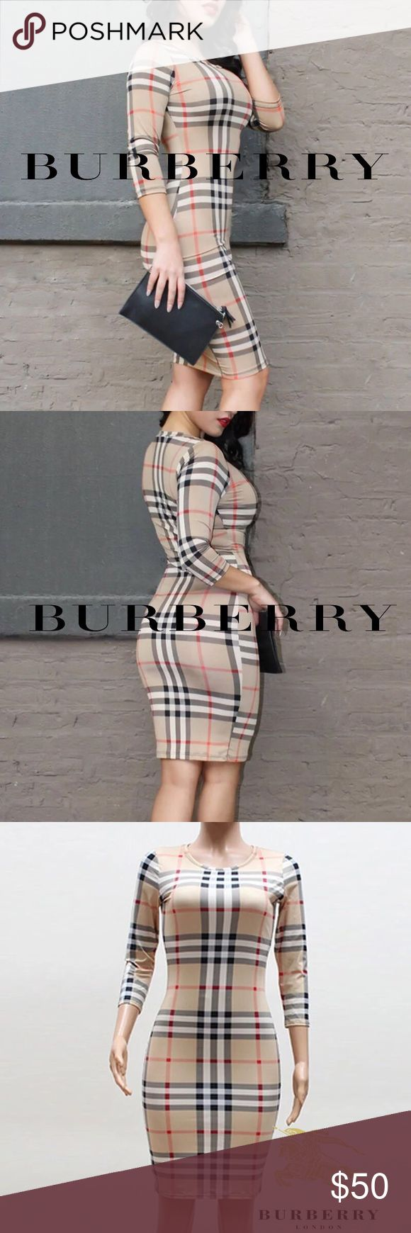 ⚜️Burberry® Inspired Brit printed Dress⚜️ ⚜️Burberry® Inspired Brit printed Dress⚜️  Brand New without Tags, in package dress.   Size:Small. (Fits also S/M)  Great stretchy material of cotton blends and polyester with bodycon silhouette. Perfect for summer evenings or cocktail hour!  Price reflects. INo name tag  Burberry Dresses Midi