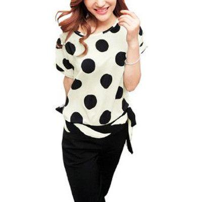 Ladies Scoop Neck Dolman Sleeve Dots Print Casual Blouse Beige Black S