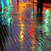 City lights on a rainy