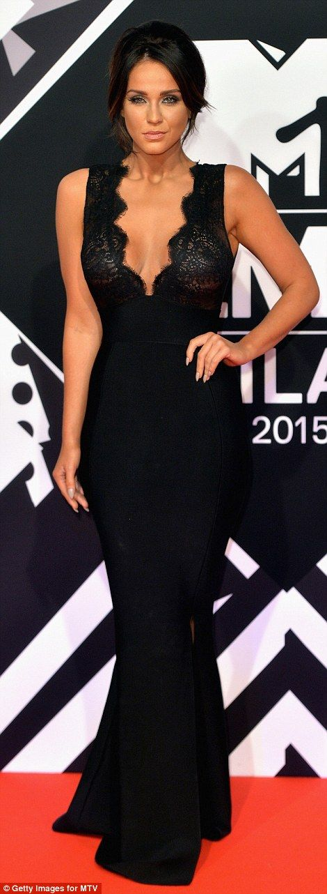 What a change! Vicky Pattison of MTV's Geordie Shore fame showed off her slim figure in a plunging black gown which showed off her sophisticated side
