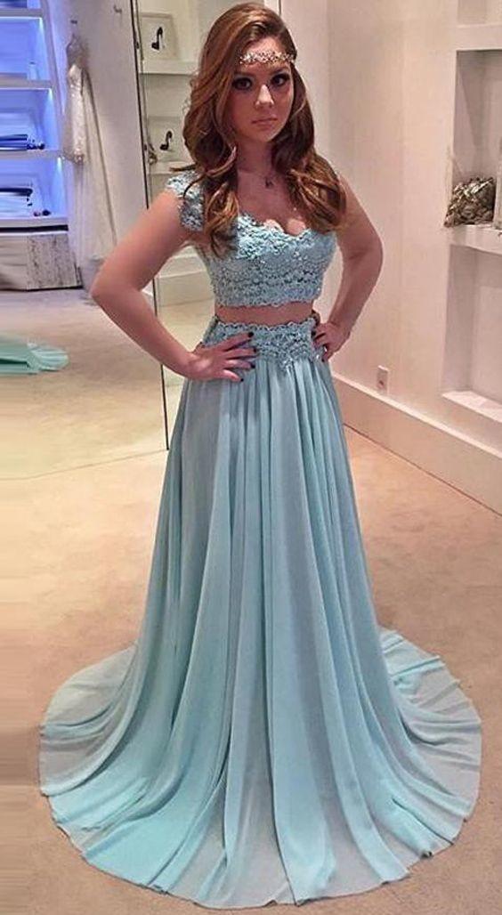 3fed6a28b4 Charming Appliques Two Piece Blue Chiffon Prom Dress