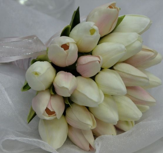 LATEX PINK REAL TOUCH TULIP WEDDING BOUQUET FLOWER TULIPS POSY FLOWERS WHITE