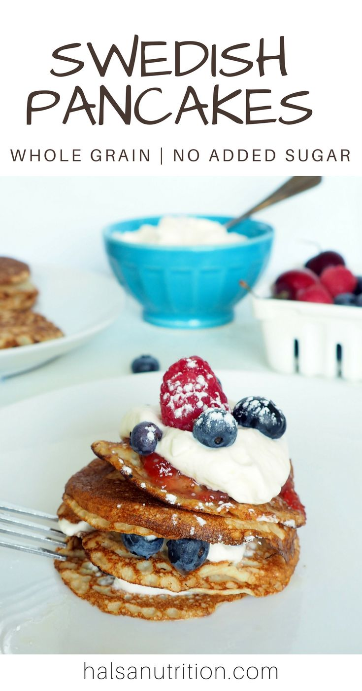 These whole grain Swedish pancakes make a delicious lunch or breakfast that your whole family will love. Swedish pancakes are naturally savory, with a base of milk, eggs, and grains and no added sugar. Top them with fresh berries, applesauce, homemade jam, or cream. Or go completely savory and top them with sauteed spinach and mushrooms or smoked salmon and avocado. This is joyful eating at its finest. Enjoy! From halsanutrition.com