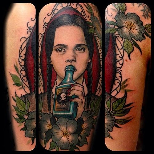 Simple portrait of Wednesday Addams. Always the best time working on @Reina Michel! #tattoo #dickslap #stevestontattooco