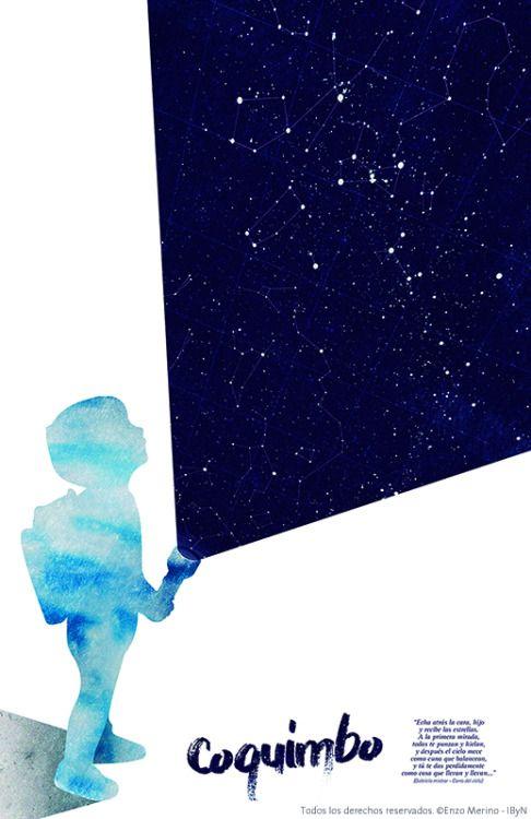 Usando como referencia un poema de Gabriela Mistral, tome la idea de incitar a descubrir los bellos paisajes que puede ofrecer la region de Coquimbo. Para esto utilice la silueta de un niño con una linterna, aludiendo a la idea de exploracion y descubrimiento. Desde la lunterna sale una luz que es reemplazada por un cielo estrellado en la cual se pueden apreciar facilemte una gran cantidad de constelaciones, esto con la intencion de expresar una de las cualidaddes mas destacadas de esta…