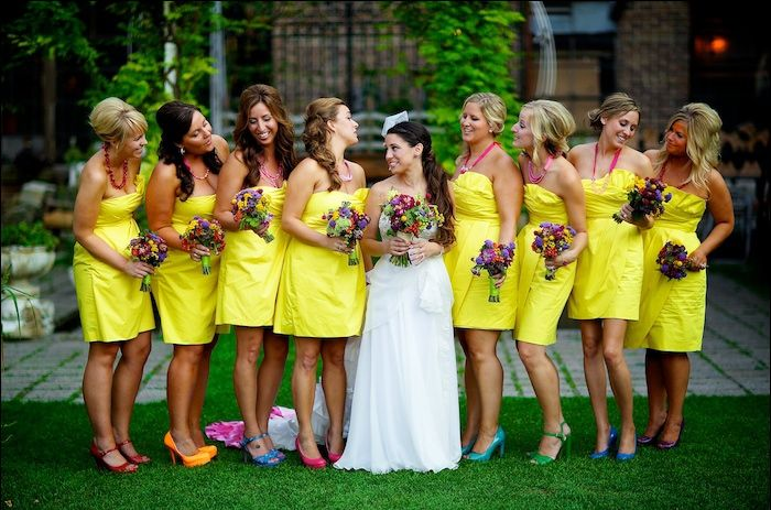 Sunny wedding, yellow dresses for bridesmaids