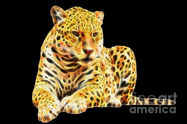 Fractal Jaguar by Tracey Lee Art Designs. Prints and Merchandise available.