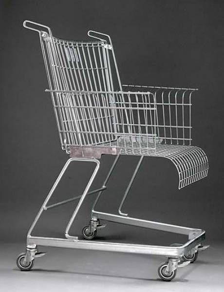 Fauteuil « Consumer's Rest » du designer Franck Schreiner dit Stiletto, 1983. Transformation d'un chariot de supermarché en fauteuil de salon. Récupération.