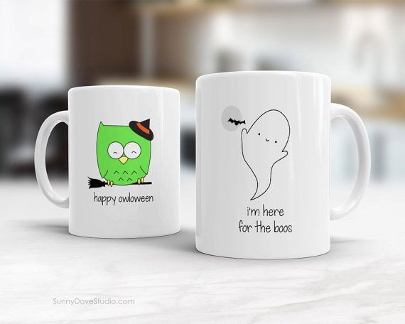 Halloween Mug Funny Coffee Mugs Happy Halloween Gift For Friend Her Him Ghost Pun Im Here For The Boos Fun Cute Gifts Ideas Birthday Bday Im Here For The Boos...a funny way to say Happy Halloween to a friend, sister, brother, anyone on your list and a fun treat for yourself! This cute boos-y ghost will put a smile on their face and make a sweet companion to any daily coffee routine!  Design is printed on both the front and back so its cute face can be seen whichever hand is holding the mug…