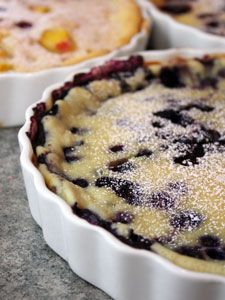 Blueberry Clafoutis - because clafoutis don't have crusts, they are easier to make than pies.    This recipe can be used for other fruits as well as blueberries.