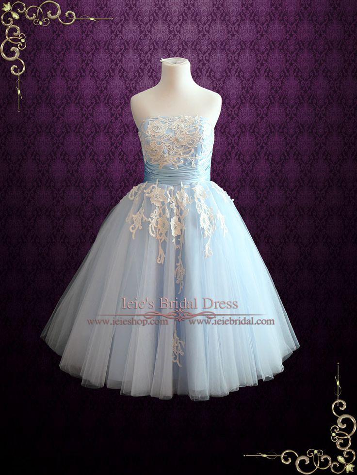 Ice Blue Retro Tea Length Ballerina Style Formal Dress   Kelsey   Ieie's Bridal Wedding Dress Boutique, http://www.ieiebridal.com/collections/tea-length-wedding-dresses