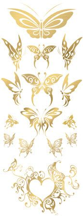 Exquisite Golden Butterflies | TattooForAWeek.com - Temporary Tattoos - Fake tattoos, temporary tattoos on Tattooforaweek - Butterflies