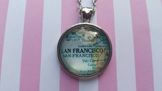 San Francisco map pendant necklace by SillySquirrelJewelry on Etsy