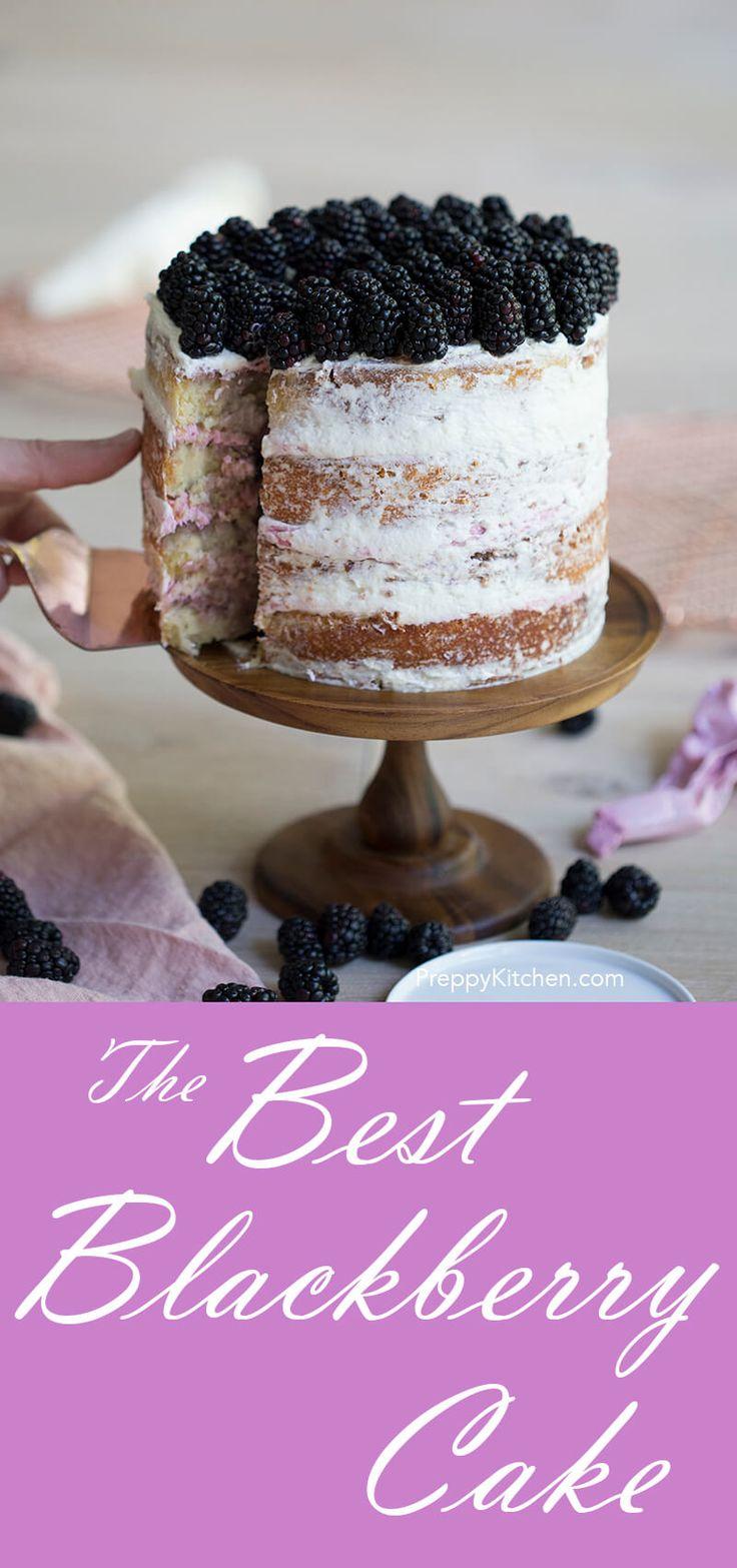 Blackberry Cake via @preppykitchen | Summer cakes, summer fruits, blackberry recipes, farmer's market fruits, easy cakes