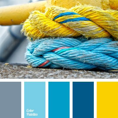 Bright yellow and shades of blue will be ideal in summer clothes of both a girl and a young man. Yellow is the color of optimism and cheerfulness, while sl. #Color Palettes