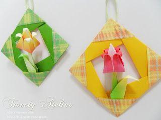No rastro da memória (Santa Rita do Sapucaí): A arte do Origami - Quadrinho com tulipa