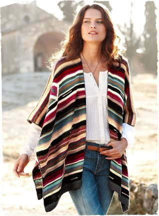 Bold geometrics and serape stripes pattern our ruana in splendid Southwestern hues—from mesa red, teal and violet to ivory, chocolate and black. A gorgeous accent piece in any wardrobe, handloomed of mercerized pima and finished with crochet edging.