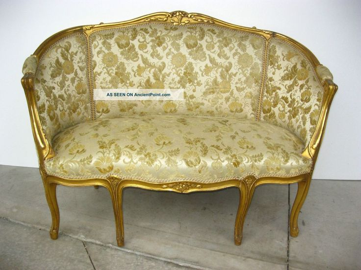 Vintage French Provincial Style Gold Gilt U0026gold Floral Velvet Fabric Settee  Sofa Post 1950 Photo