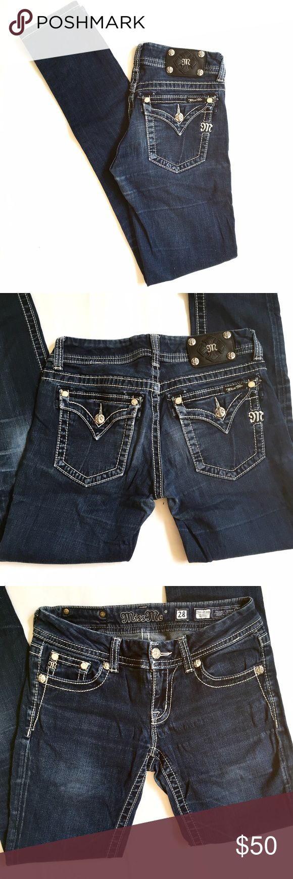 "Miss Me JE4009534X Skinny Jean, Sz 28 Waist 15"", rise 7.5"", inseam 33.5"". Awesome Miss Me skinny jeans! Excellent condition. Miss Me Jeans"
