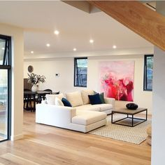 Love the positioning of the large art work / really defines the lounge space
