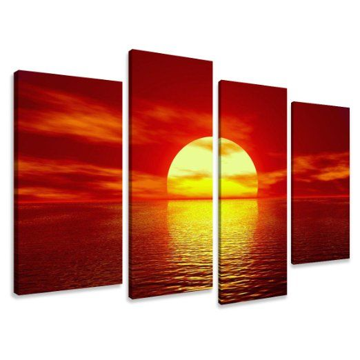 Quadro su tela sunrise 130 x 80 cm 4 tele modello nr XXL 6094. I quadri sono montati su telai di vero legno. Stampa artistica intelaiata e pronta da appendere