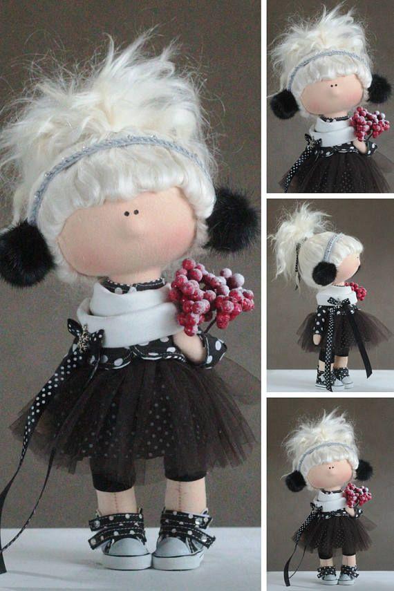Fabric Tilda Doll Black Nursery Doll Textile Soft Doll Gift Baby Room Doll Love Winter Doll Handmade Cloth Doll Decor Rag Doll by Yulia G __________________________________________________________________________________________ Hello, dear visitors! This is handmade soft doll