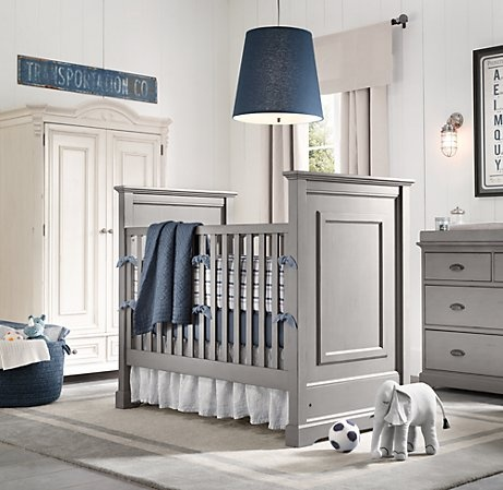 Baby boy room. Love the grey furniture