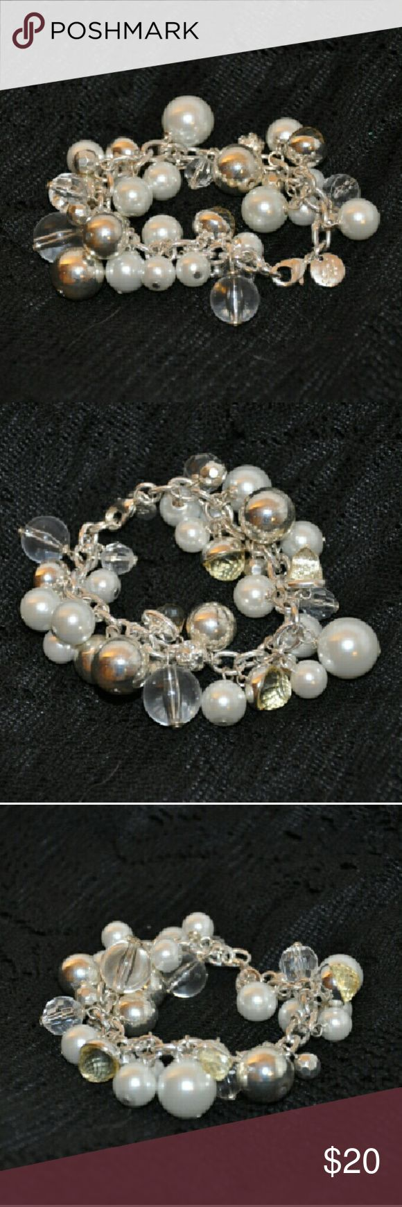"Grace Adele Silver Pearl Cluster Bracelet This beautiful bracelet has a variety of beads and pearls all around. I tried to show them all in the pics! 9"" in full length with about 1.5"" in adjustable chain. Very nice!! Please let me know if you have any questions and I'll do my best answer! Thanks!! :D Grace Adele Jewelry Bracelets"