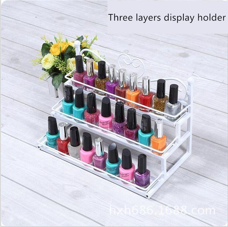LAN LIN Nail Polish Shelf Cosmetic Varnish Display Stand Rack Holder Women Makeup Organizer Case Lipstick in bold two colors