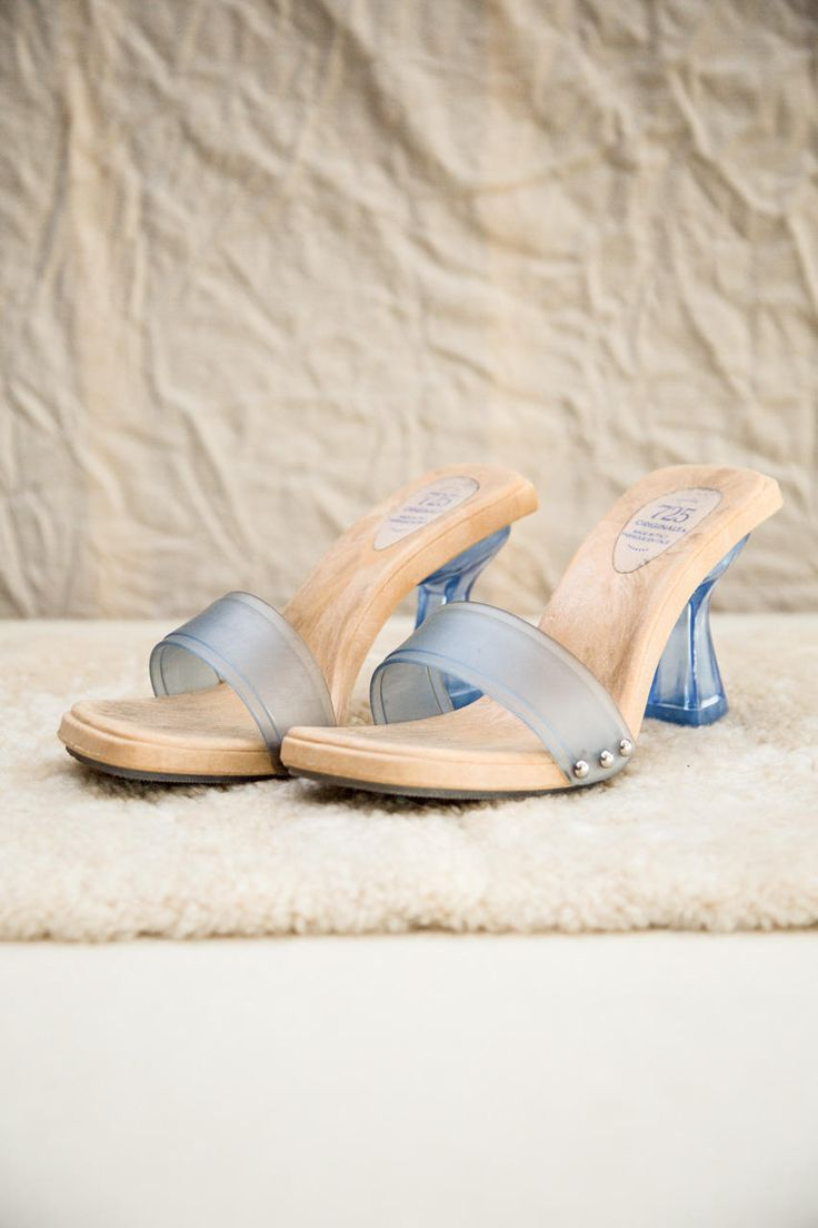 90s 725 Baby Blue Transparent Plastic Slip On Heels • 7  DETAILS ▼  LABEL: Escarpin SIZE: 7 US Womens MATERIAL: 100% Plastic CONDITION: Good  • Baby Blue Transparent • Silver Studs • Flip Flop Heel • Transparent Heel • Made in Italy MEASUREMENTS ▼  Heel 3/ 7.5 cm  • • •  Like this? You might LOVE these: http://etsy.me/2sYwSAw  Check out our SALE SECTION! http://etsy.me/2sk9Im9  Follow us on Instagram for 10% off! @softserve_vintage http://bit.ly&#x...
