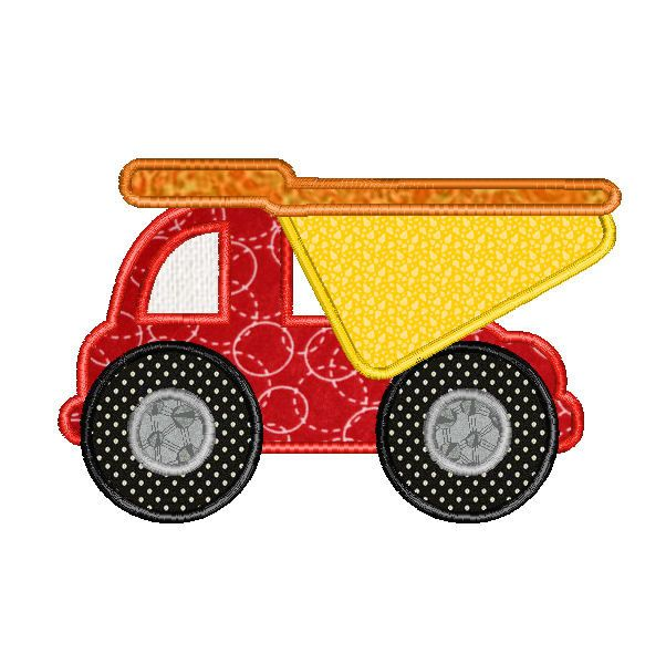 Embroidery Machine Design Applique Dump Truck, Construction Truck $3
