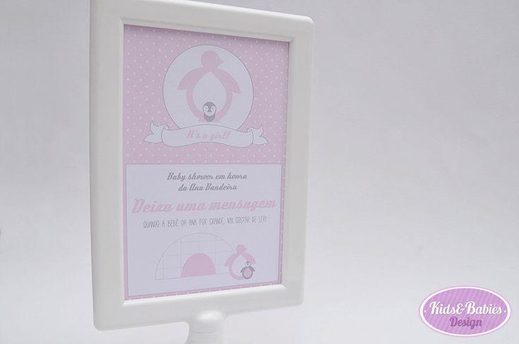Kids&Babies: Party Printables :: Baby Shower Pinguim - cartaz (10x15cm) para mensagens