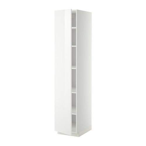METOD High cabinet with shelves, white, Ringhult white white Ringhult high-gloss white 40x60x200 cm