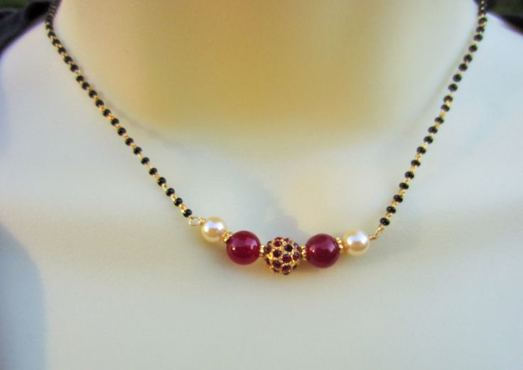 On Sale-Red Stone Studded Mangalsutra Red Beads by Alankaar