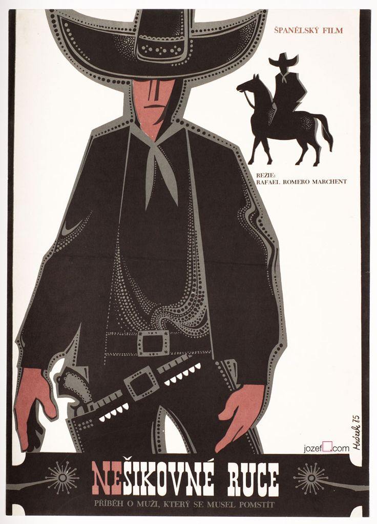 Western poster with a lovely illustration by Mrázek designed for a Spanish western movie Awkward Hands title: Awkward Hands | Manos Torpes |Nešikovné ruce | Spain, 1970 director: Rafael Romero Marchent with: Peter Lee Lawrence, Alberto de Mendoza,...