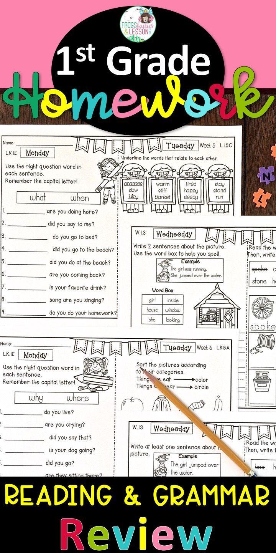 First Grade Ela Homework Bundle With Digital Option For Distance Learning First Grade Homework First Grade Word Boxes