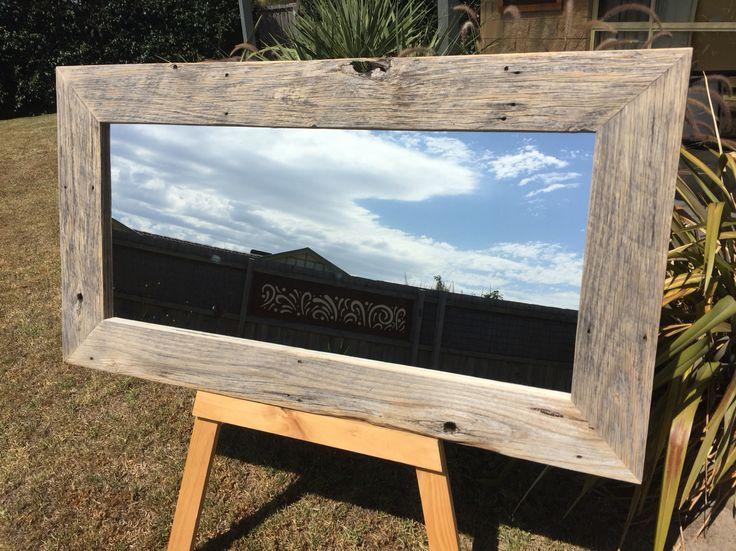Raw finished hardwood timber mirror