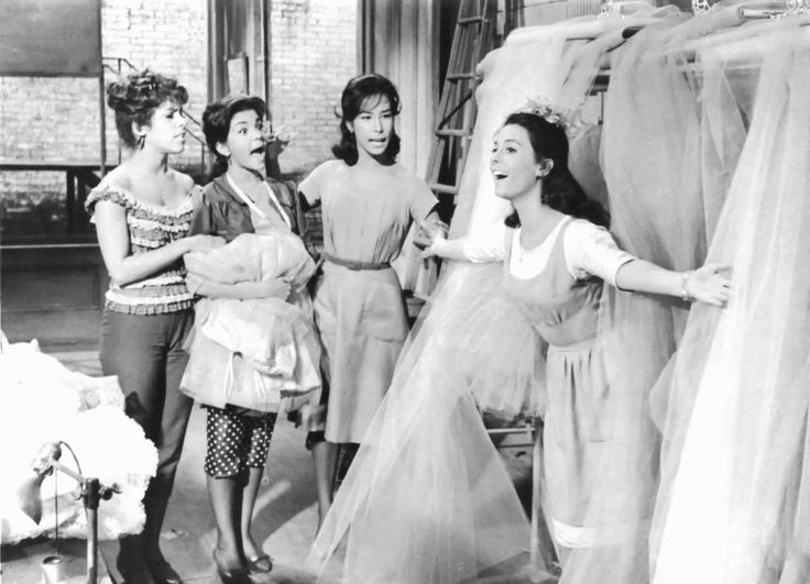 Yvonne Othon, Suzie Kaye, Joanne Miya, and Natalie Wood in West Side Story directed by Jerome Robbins and Robert Wise, 1961
