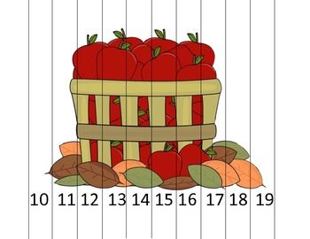 Here's an apple themed number order puzzle for numbers 10-19.