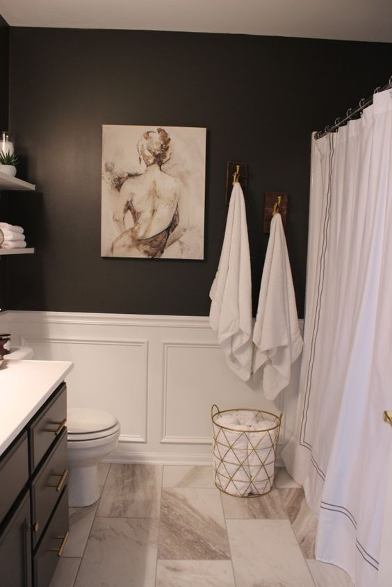 Marble Tiles Black Walls And White Wainscoting For A