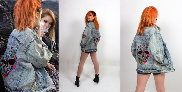 Cazadora vaquera oversized con bordado de calavera en la espalda.  Oversized denim jacket with embroidered skull on back Calavera psicodelica. Bordado | Embroidery | Hecho a mano | Hand made