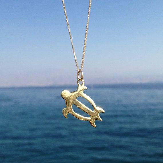Nautische 18k goud vernikkeld zeeschildpad ketting, gouden ketting, verklaring ketting, nautische ketting, Gift, Hawaiian schildpad, Maya schildpad liefde