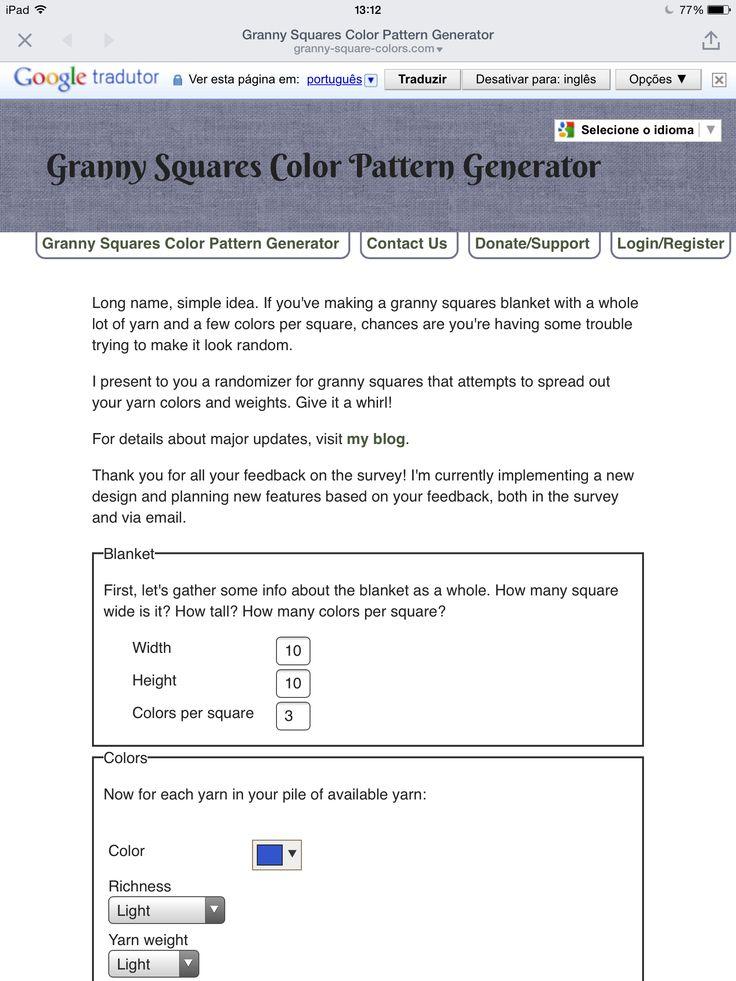 ❤️❤️❤️ Genial esse gerador de distribuição de cores de squares!  http://granny-square-colors.com/
