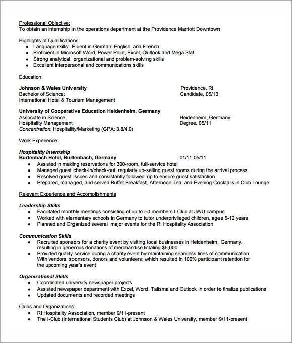 Free 7 Sample Internship Resume Templates In Pdf Ms Word Resume Template Internship Resume Job Resume Template
